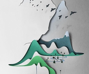 art, Paper, and mountains image