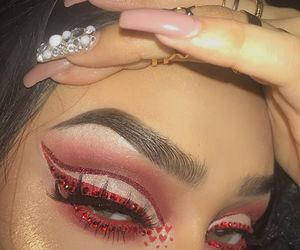 makeup, nails, and red image