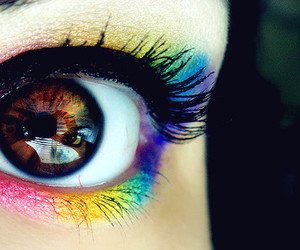 eye, rainbow, and eyes image