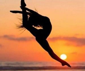 beach, girl, and gymnastics image