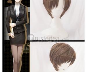 cheap anime wig, short brown cosplay wig, and jaehee kang wig image