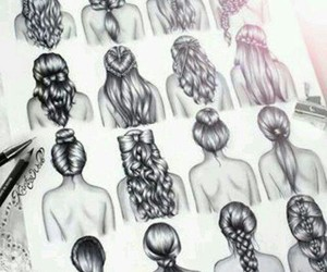 bun, hairstyles, and draws image
