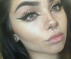 Black Eyeliner, eyebrow goals, and septum piercing image
