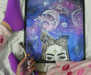 art, face tattoo, and galaxy image