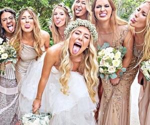 wedding, bride, and bridesmaids image