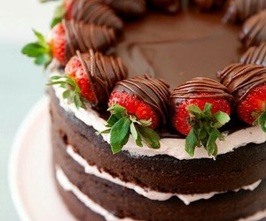 chocolate, cake, and strawberry image