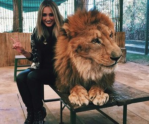 girl, animal, and lion image