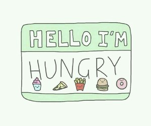 hungry, food, and hello image