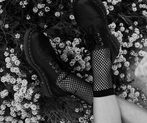 black and white, shoes, and flowers image
