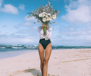 flowers, fashion, and beach image
