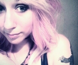 blonde, body mods, and dyed hair image