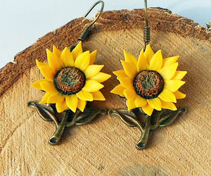 etsy, dangle earrings, and floral earrings image