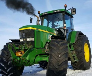 black smoke, John Deere, and snow image