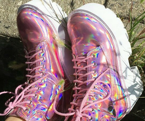 pink, holographic, and boots image