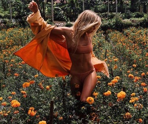 flowers, girl, and orange image