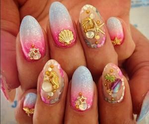 nails, mermaid, and pink image
