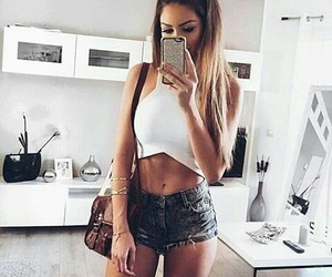 blond, cropped, and jeans image