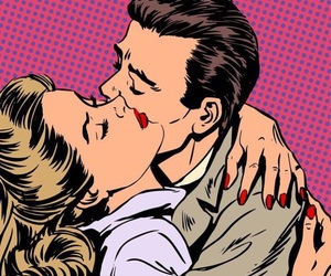romance, kissing, and pop art image