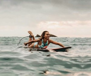 girl, fashion, and surfing image