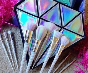 Brushes, makeup, and diamond image