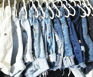 jeans, shorts, and blue image