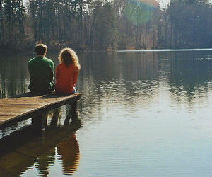 couple, boy, and lake image