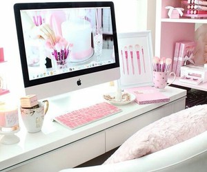 pink, desk, and home image