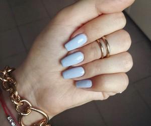 nails, blue, and bracelet image