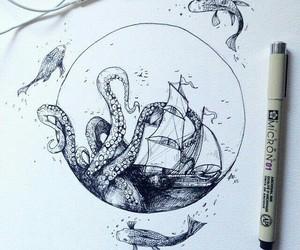 drawing, art, and sea image