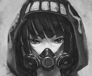 anime, girl, and gas mask image