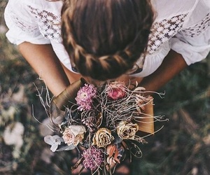 girl, flowers, and braid image