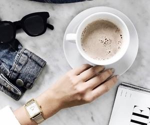 coffee, girl, and sunglasses image