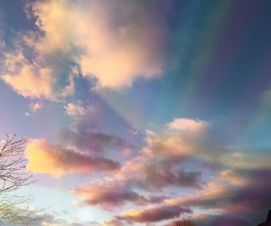 clouds, rainbows, and cute image