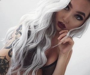 blonde, dyed hair, and Tattoos image
