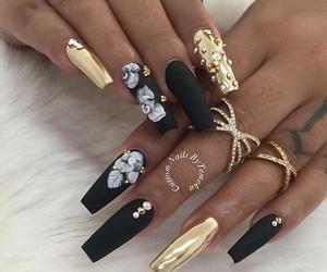 nails, gold, and black image