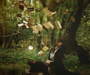 books, forest, and magie image