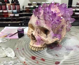 purple, skull, and crystal image