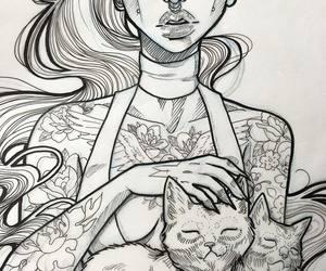 art, girl, and tattoo image