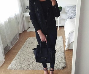 outfit, bag, and black image