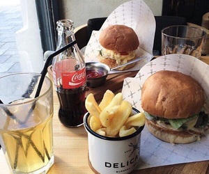 burger, cafe, and coca-cola image