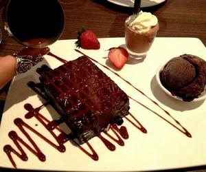 ice cream, strawberry, and cake image