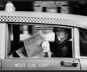 lady, new york, and taxi image