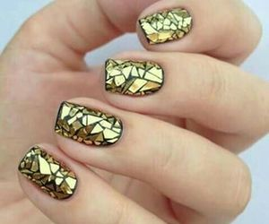 nails, golden, and nail art image