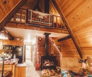 cabin, cosy, and fireplace image