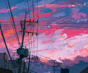 art, pink, and sky image