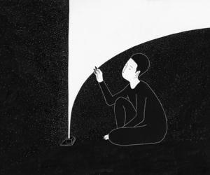 art, black and white, and moonassi image