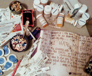 pills, cigarette, and hate image
