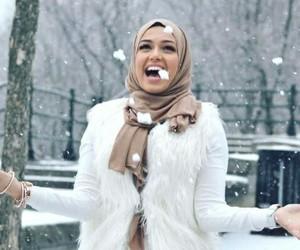 snow, hijab, and winter image