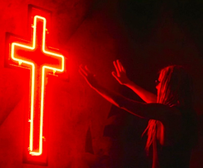 red, neon, and cross image