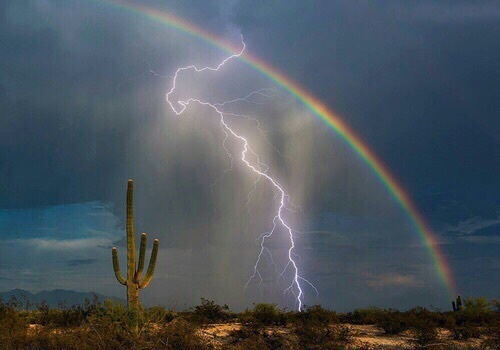 rainbow, lightning, and sky image